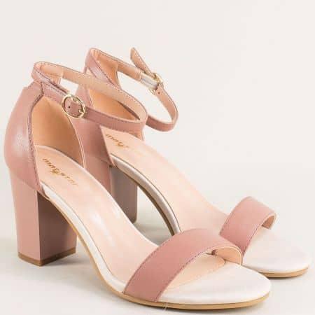 Розови дамски сандали със затворена пета на висок ток 029215rz