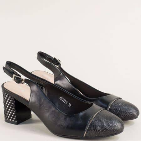 Черни дамски обувки с отворена пета на висок ток  029221ch