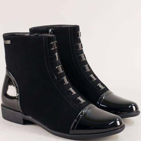 Дамски боти в черен цвят на нисък ток- MAT STAR 029271nch