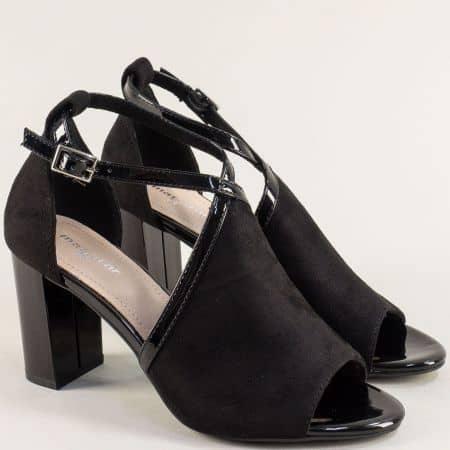 Черни дамски сандали със затворена пета и висок ток- MAT STAR 029274nch
