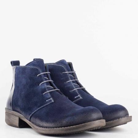 Мъжки комфортни боти изработени от висококачествен естествен велур в тъмно син цвят 0301vls