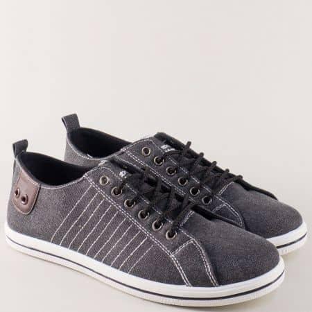 Спортни мъжки обувки в черно на равно ходило 030107-45ch