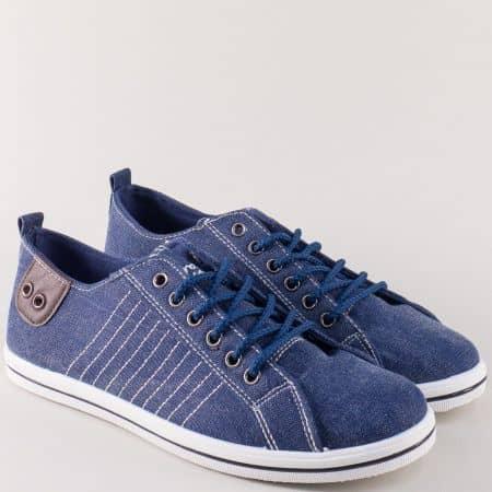 Сини мъжки кецове с връзки и комфортно ходило 030107-45s