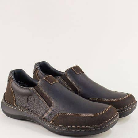 Тъмно кафяви мъжки обувки с два ластика- RIEKER 03054kk