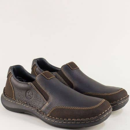 Тъмно кафяви мъжки обувки на антистрес ходило- RIEKER 03054kk