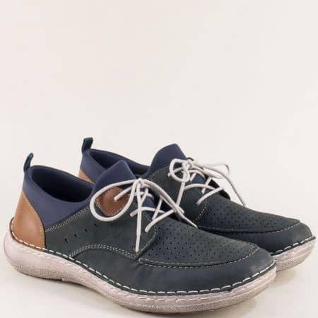 Сини мъжки обувки с връзки на Antistress ходило- Rieker 03055ns