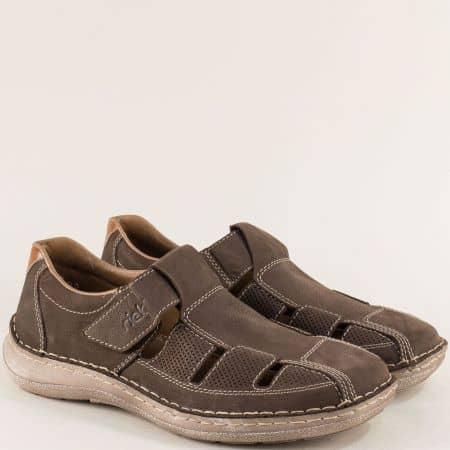 Кафяви мъжки обувки от естествен набук с прорези- Rieker 03065nkk
