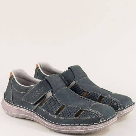 Сини мъжки обувки с прорези от естествен набук- Rieker  03065ns