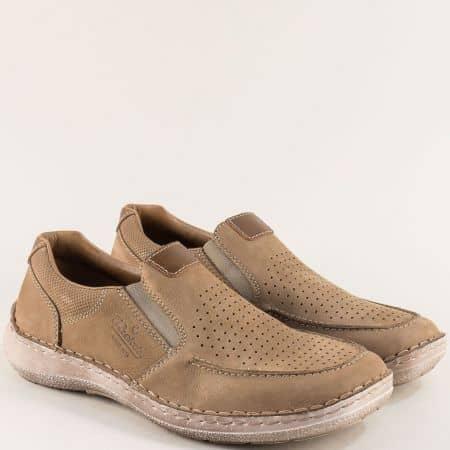 Бежови мъжки обувки от естествен набук с перфорация 03067nbj