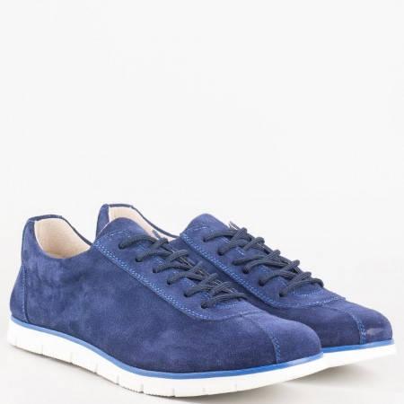 Български дамски обувки с връзки от естествен велур в синьо с ортопедична стелка от естествена кожа 030vs
