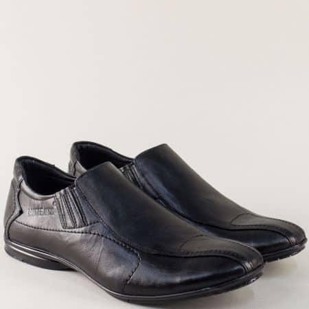 Кожени мъжки обувки в черен цвят с два ластика 0311mch