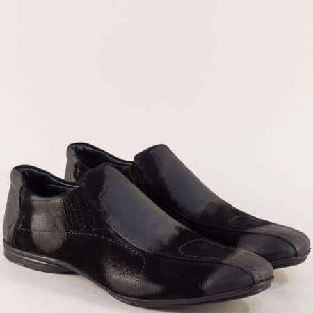 Велурени мъжки обувки с кожена стелка в черен цвят 0311vch1