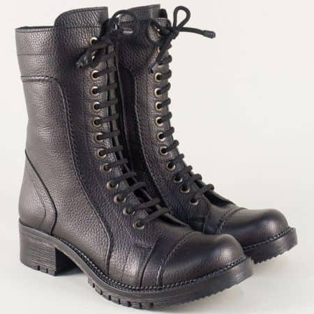 Черни дамски боти произведени от естествена кожа 032ch