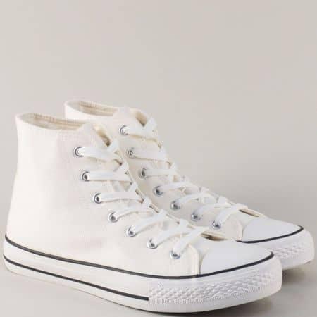 Бели мъжки кецове с връзки на удобно, бяло ходило 033-45b