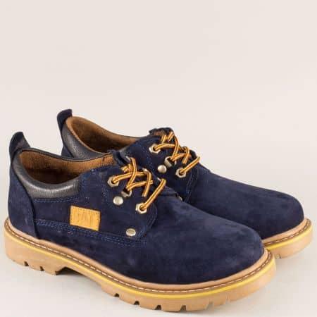 Мъжки обувки от естествен набук в син цвят с грайфер 034ns