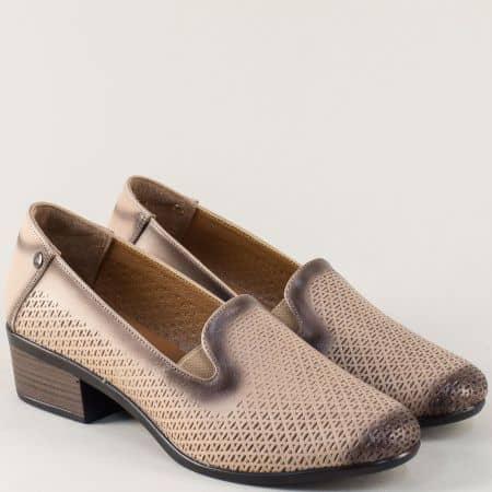 Бежови дамски обувки с кожена стелка и перфорация 03510bj