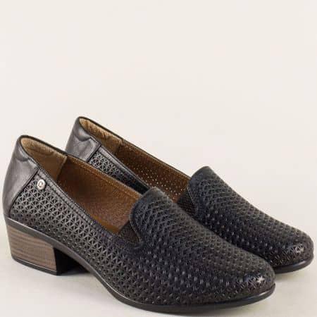 Перфорирани дамски обувки с два ластика в черен цвят 03510ch