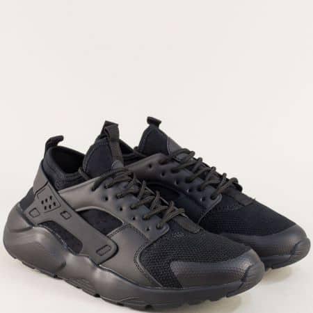 Черни мъжки маратонки с връзки на удобно ходило 040219ch