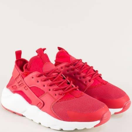Мъжки спортни обувки в червен цвят с връзки 040219chv