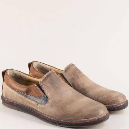 Бежови мъжки обувки от естествена кожа с два ластика 0421045bjs