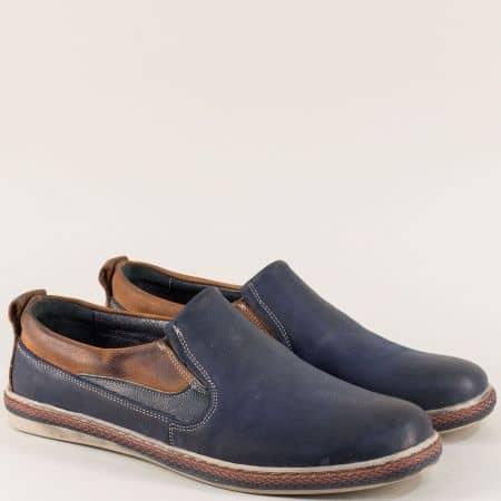 Тъмно сини мъжки обувки с два ластик от естествена кожа 0421045sk