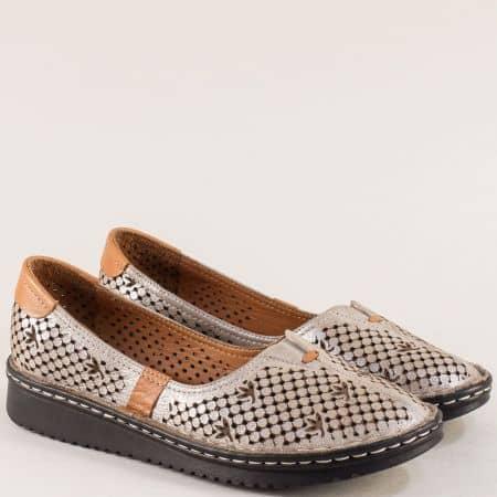 Бежови дамски обувки с перфорация от естествена кожа 0426sbj