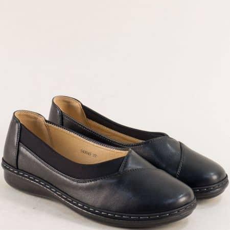 Равни дамски обувки в черен цвят с ластик- MAT STAR 043045ch