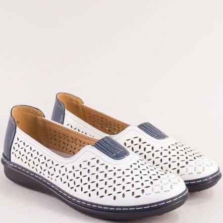Ежедневни дамски обувки в бяло на равно ходило 043049bs