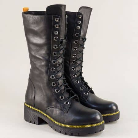 Черни дамски ботуши тип кубинка от естествена кожа 046107887ch
