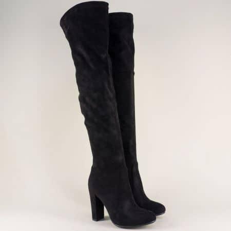 Дамски ботуши над коляното но висок ток в черен цвят 048529vch