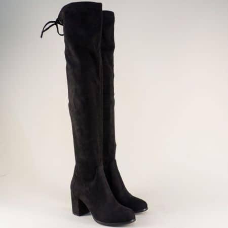 Модерни дамски ботуши на висок ток в черен цвят 048530vch