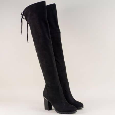 Черни дамски ботуши над коляното на висок ток 048534nch
