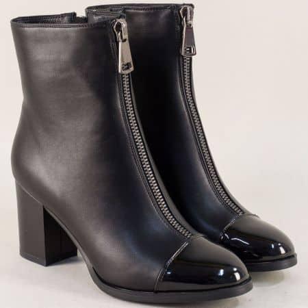 Стилни дамски боти в черен цвят на висок ток  048560ch