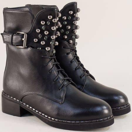 Черни дамски боти с перли 048581ch