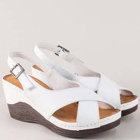 Анатомични дамски сандали от бяла естествена кожа 04b