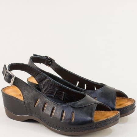Черни дамски сандали на платфорама от естествена кожа 0502ch