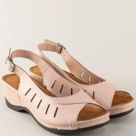 Шити дамдски сандали от естествена кожа в розов цвят 0502rz