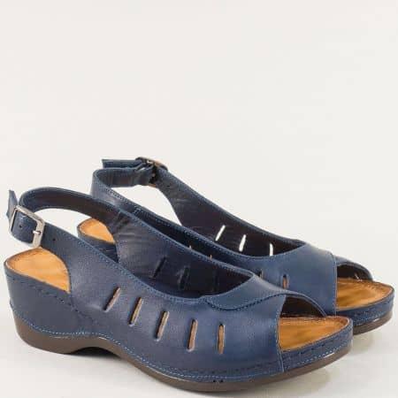 Кожени дамски сандали на платформа в тъмно син цвят 0502ts