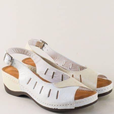 Шити дамски сандали в злъто и сребро на платформа 0502zlsr