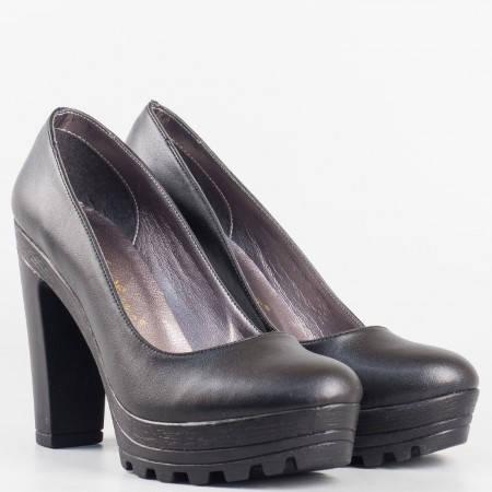 Дамски комфортни обувки на висок ток с платформа в черен цвят 090915ch