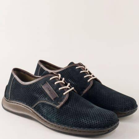 Шити мъжки обувки в син цвят с перфорация- Rieker 05206vs