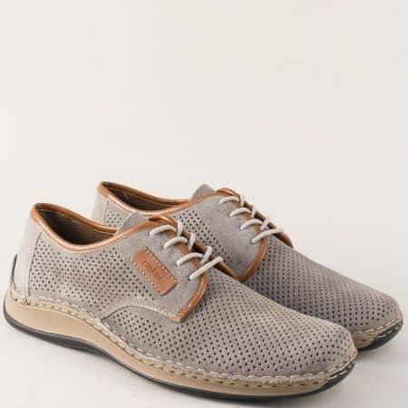 Велурени мъжки обувки Rieker Antistress в сиво на равно ходило 05206vsv