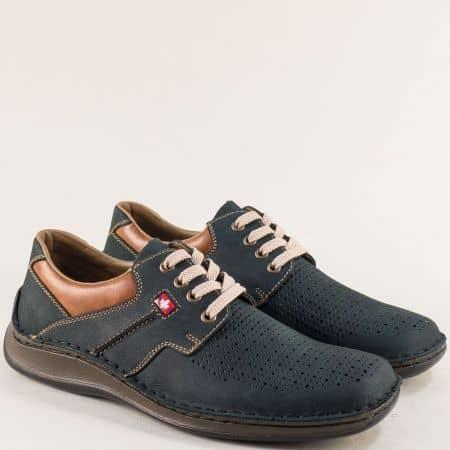 Мъжки обувки в син цвят с перфорация- RIEKER 05207s