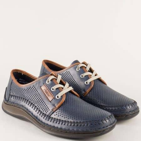 Сини мъжки обувки на анатомично ходило с перфорация 05215s
