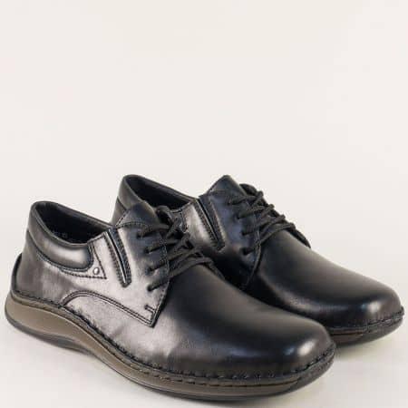 Анатомични мъжки обувки от черна естествена кожа 05219ch