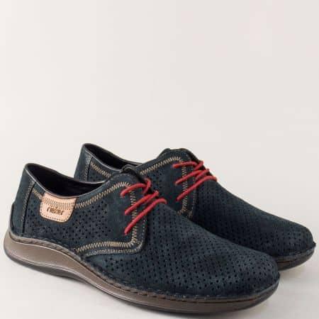 Велурени мъжки обувки с перфорация в син цвят- Rieker 05225vs