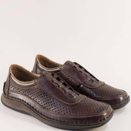 Тъмно кафяви мъжки обувки с латик и перфорация- RIEKER 05255kk