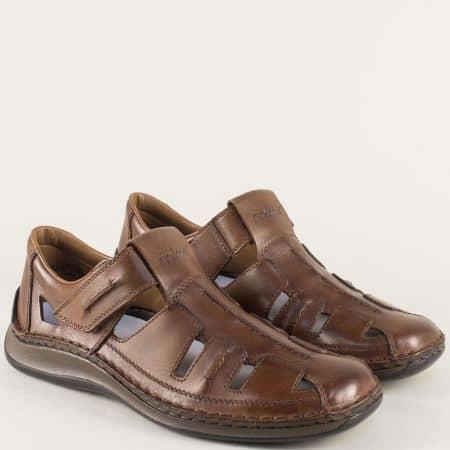 Тъмно кафяви мъжки сандали на анатомично ходило 05256kk