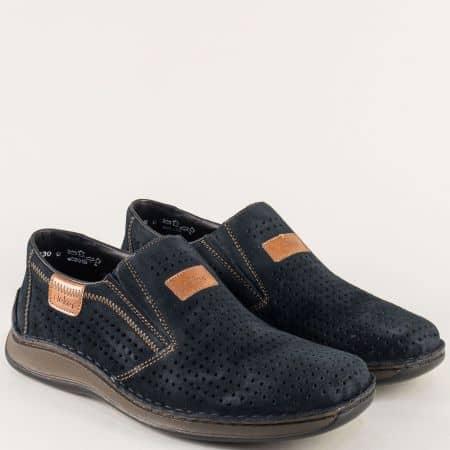 Анатомични мъжки обувки от син естествен велур- Rieker 05265vs