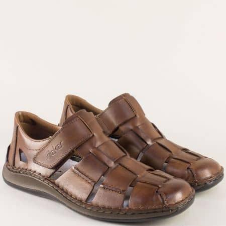 Анатомични мъжки сандали от кафява естествена кожа 05273k